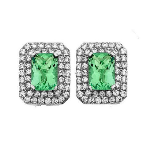 Rebecca Sloane Platinum Plated Sterling Silver Cushion Cut Green Obsidian Pave CZ Earring