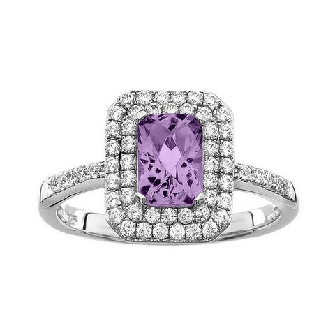 Rebecca Sloane Platinum Plated Sterling Silver Cushion Cut Amethyst Pave CZ Ring