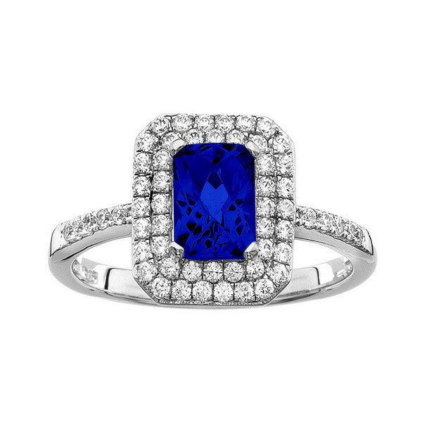Rebecca Sloane Platinum Plated Sterling Silver Cushion Cut Blue Obsidian Pave CZ Ring