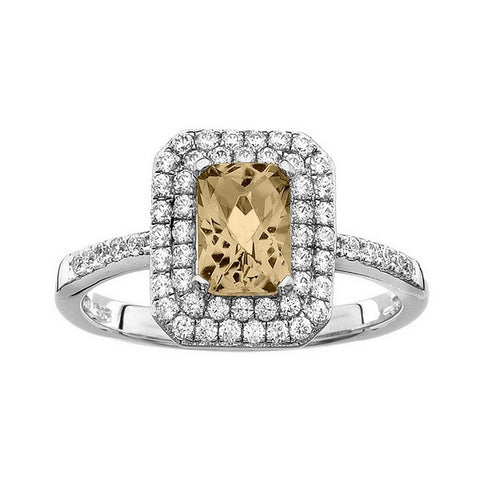 Rebecca Sloane Platinum Plated Sterling Silver Cushion Cut Citrine Pave CZ Ring
