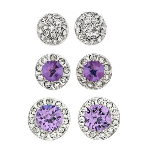 Crystal Colors Rhodium Plated 3-Piece Round Stud with Pave Earring Box Set Light Amethyst, Amethyst and Clear Swarovski Crystal