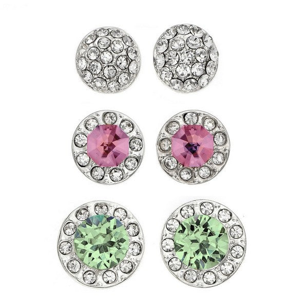 Crystal Colors Rhodium Plated 3-Piece Round Stud with Pave Earring Box Set Chrysolite, Vintage Rose and Clear Swarovski Crystal