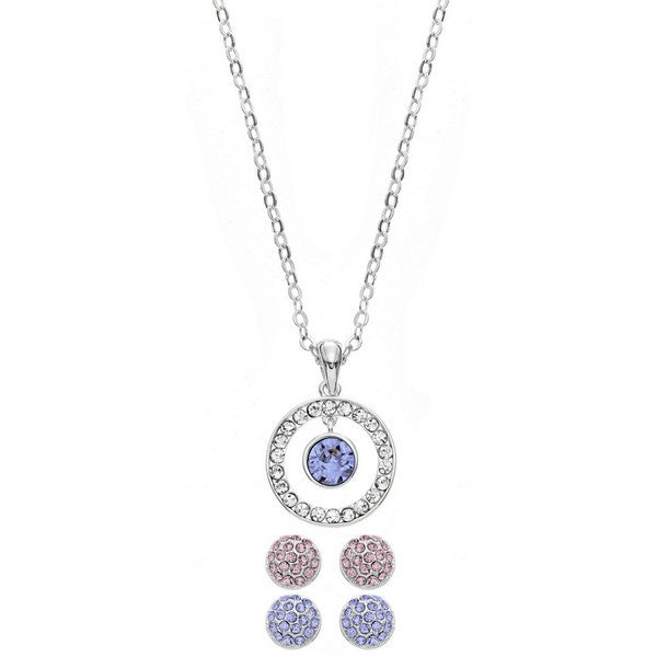 Crystal Colors Rhodium Plated Pendant & 2 Piece Earring Box Set Light Sapphire, Light Rose and Clear Swarovski Crystal