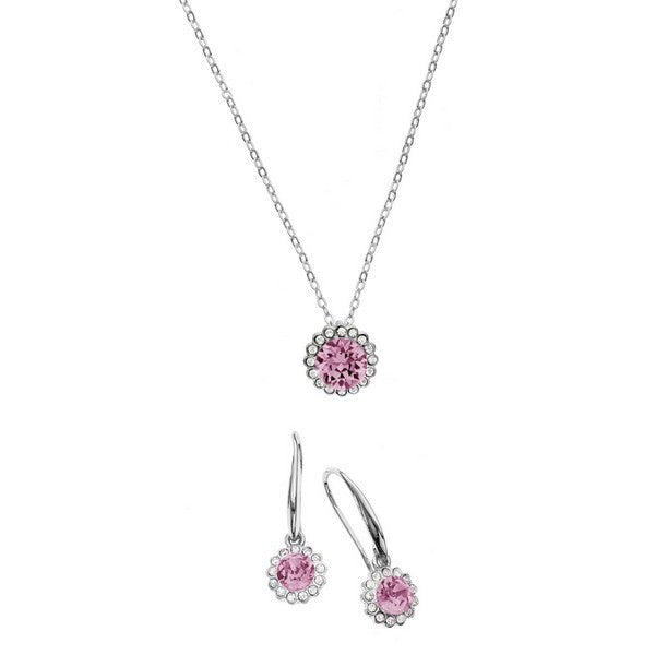 Crystal Colors Rhodium Plated 2-Piece Flower Pendant & Drop Earring Box Set Light Rose and Aurore Boreale Swarovski Crystal
