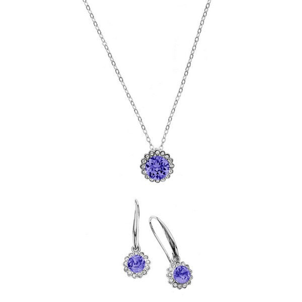 Crystal Colors Rhodium Plated 2-Piece Flower Pendant & Drop Earring Box Set Tanzanite and Clear Swarovski Crystal