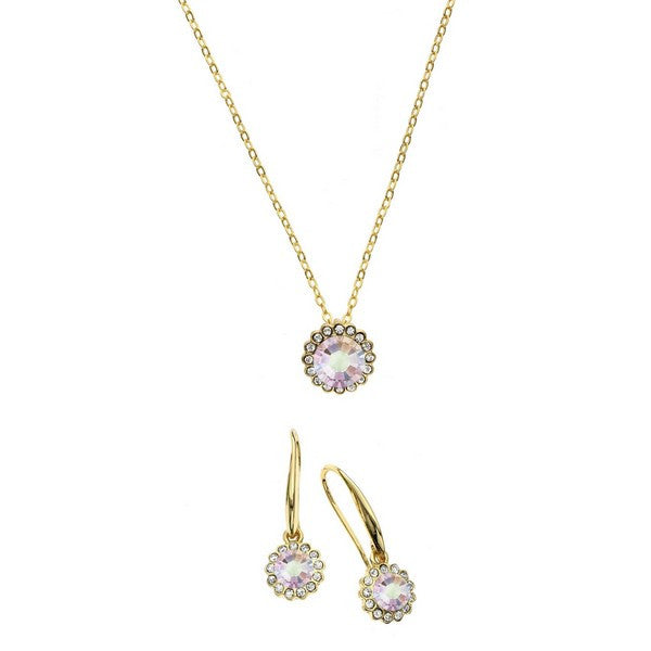 Crystal Colors 14KT Gold Plated 2-Piece Flower Pendant & Drop Earring Box Set Aurore Boreale Swarovski Crystal