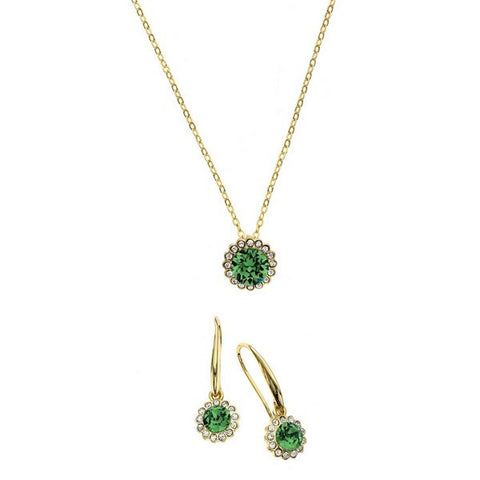 Crystal Colors 14KT Gold Plated 2-Piece Flower Pendant & Drop Earring Box Set Erinite and Clear Swarovski Crystal