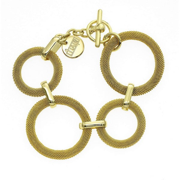 1AR by UnoAerre 18KT gold plated woven ring bracelet