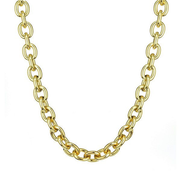 1AR by UnoAerre 18KT gold plated oval anchor link chain necklace with toggle