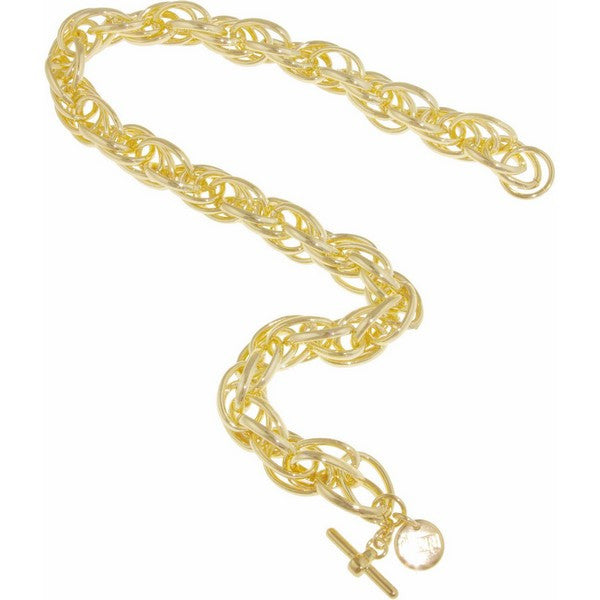 1AR by UnoAerre 18KT gold plated rope link chain necklace with toggle