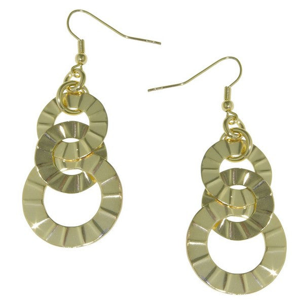 1AR by UnoAerre 18KT Gold Plate Interlinked textured disc drop earrings