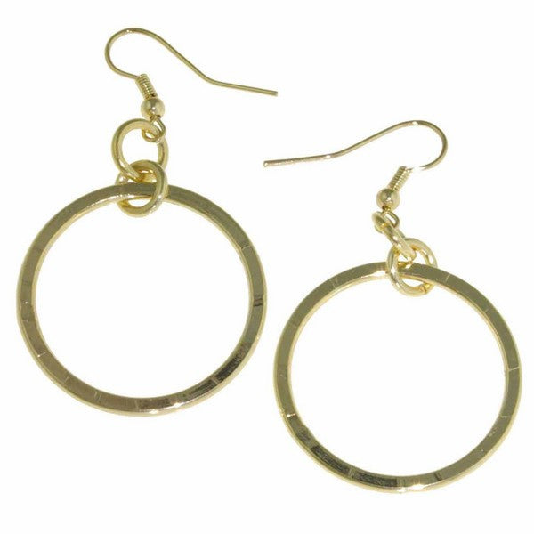 1AR by UnoAerre 18KT Gold Plate diamond cut hoop drop earring