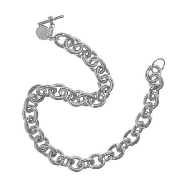 1AR by UnoAerre Sterling Silver and White Bronze plated oval anchor link chain necklace with toggle