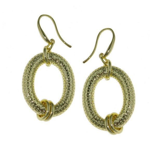 1AR by UnoAerre 18KT GEP oval textured earring with links