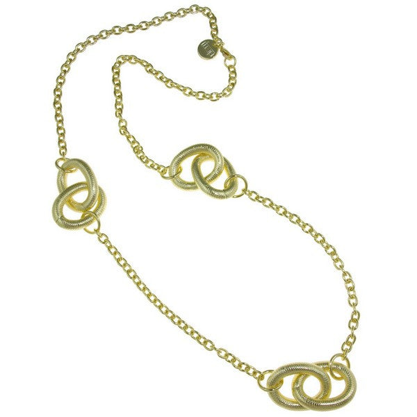 1AR by UnoAerre 18KT GEP Necklace with stations of large corrugated links