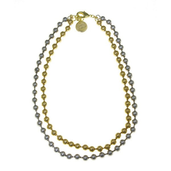 1AR by UnoAerre Silver and 18KT GEP two tone double ball chain necklace
