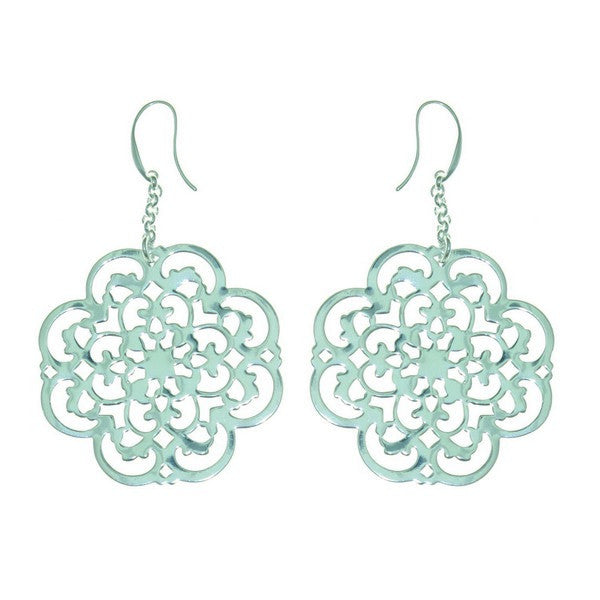 1AR by UnoAerre Fine Silver Plate Clover Earrings