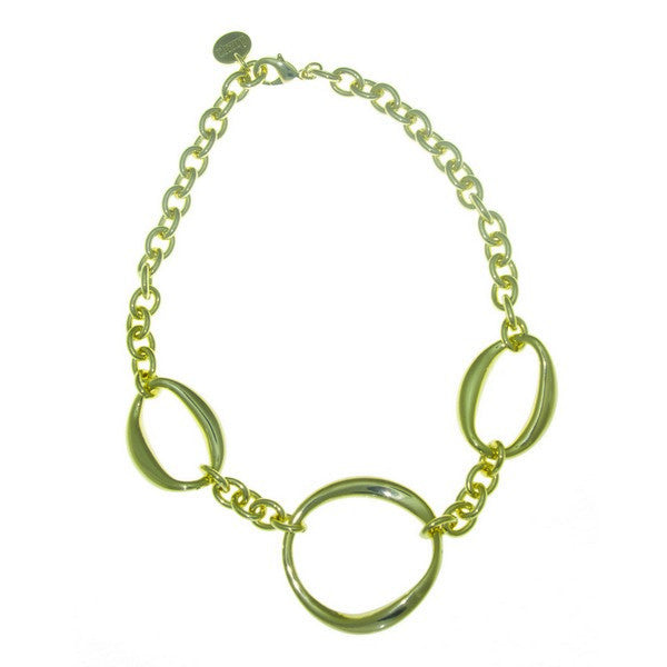1AR by UnoAerre 18KT GEP Choker Necklace with Large Oval and small circle links