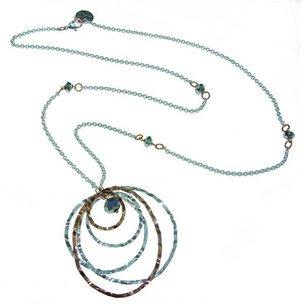 1AR by UnoAerre Fine Silver and 18KT Rose GEP Long Necklace with Waffle Rings and Faceted Beads