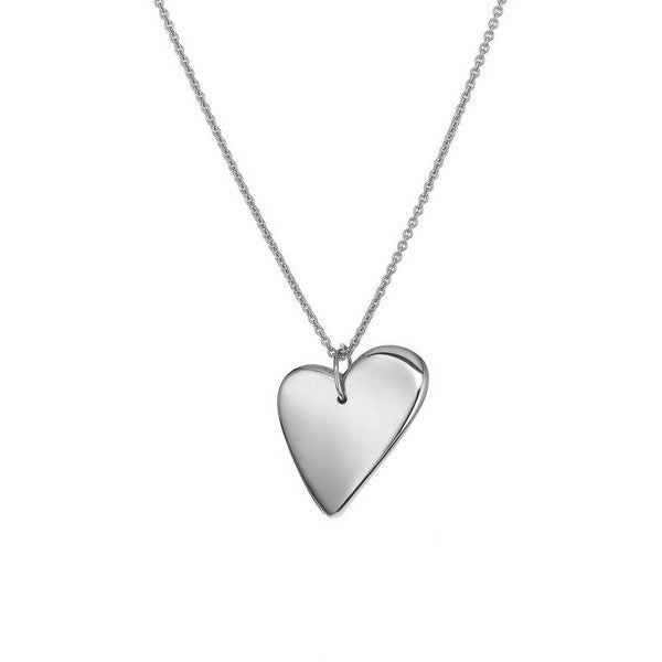 1AR by Fine Silver Electroplate long Necklace with Large Electroform Heart