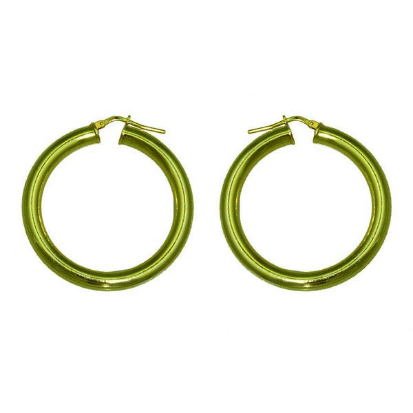 1AR by UnoAerre 18KT GEP 4.5mm X 40mm Round Polished Hoop Earring
