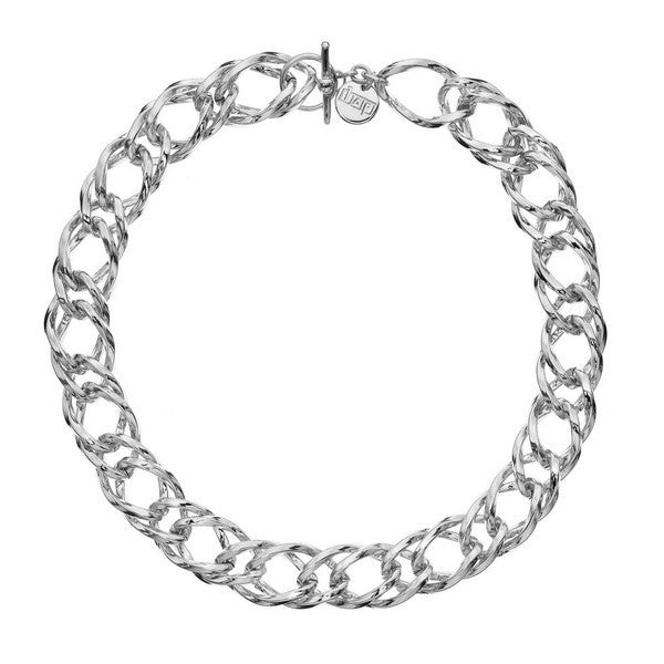 1AR by UnoAerre Fine Silver Plated Rope Link Chain Necklace with clasp