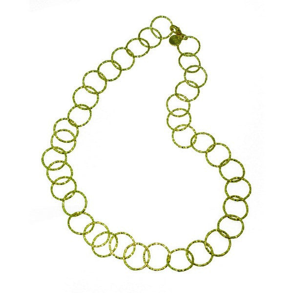 1AR by UnoAerre 18KT Gold Electroplated textured circle link long necklace
