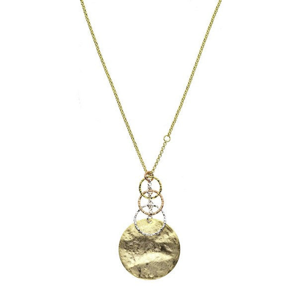 1AR by UnoAerre 18KT Gold Electroplated Rustic Finish circle necklace with graduated textured links