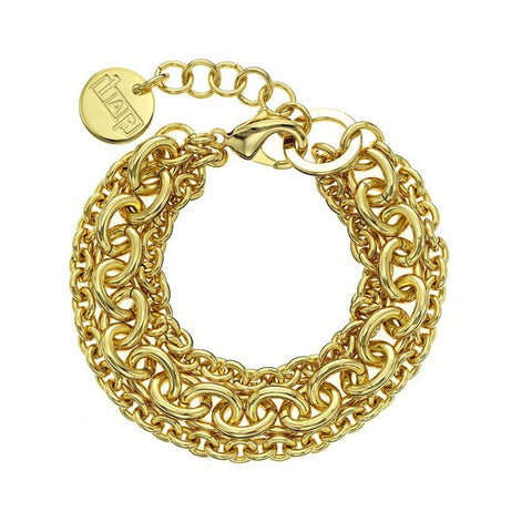 1AR by UnoAerre 18K GEP Yellow Three strand small/large oval link bracelet