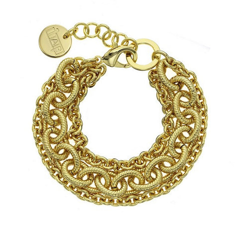 1AR by UnoAerre 18K GEP Yellow Three strand small/large corrugated oval link bracelet