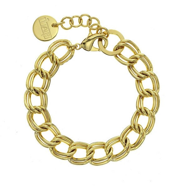 1AR by UnoAerre 18K GEP Yellow Double twisted link bracelet