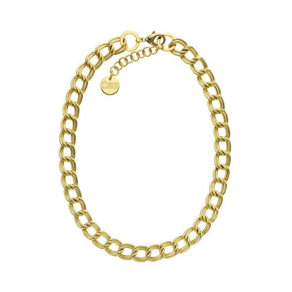 1AR by UnoAerre 18K GEP Yellow Double twisted link necklace