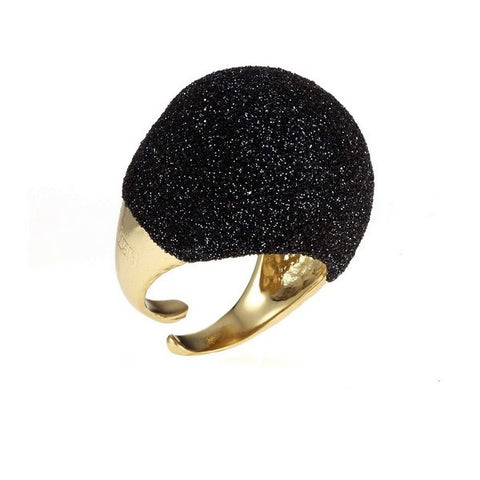 1AR by UnoAerre 18KT GEP and Black Textured Ring