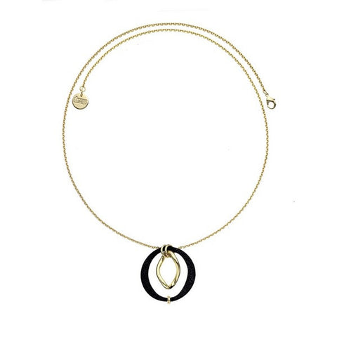 1AR by UnoAerre 18KT GEP and Black Textured Long Oval Necklace with Twisted Oval Center