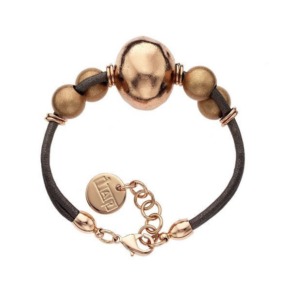 1AR by UnoAerre 18KT Rose GEP Ball and Brown Cord Bracelet