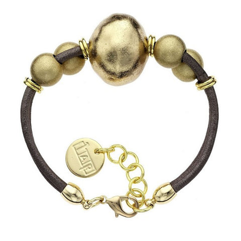 1AR by UnoAerre 18KT GEP Ball and Brown Leather Cord Bracelet