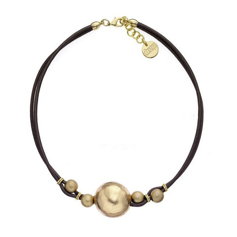 1AR by UnoAerre 18KT GEP Ball and Brown Leather Cord Choker