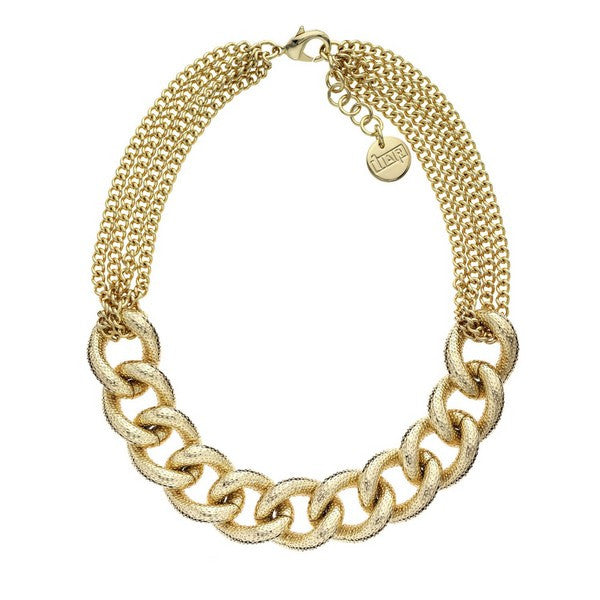 1AR by UnoAerre 18KT GEP Glitter Textured Link and Chain Necklace