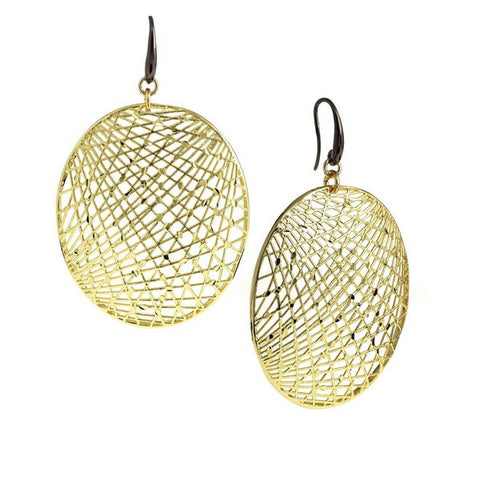 1AR by UnoAerre 18K GEP and Ruthenium Plated Large Oval Mesh Disc Earrings