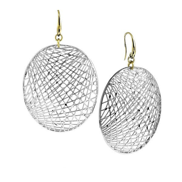 1AR by UnoAerre Fine Silver and Gold EP Oval Mesh Disc Earrings