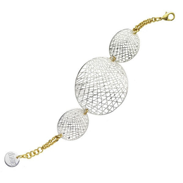 1AR by UnoAerre Fine Silver and Gold EP Oval Mesh Disc Bracelet