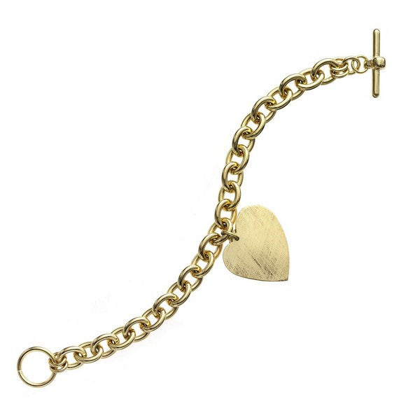 1AR by UnoAerre 18K GEP Round Link Bracelet with Hanging Heart Charm