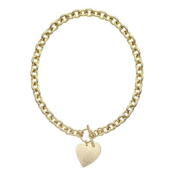 1AR by UnoAerre 18K GEP Round Link Necklace with Hanging Heart Charm