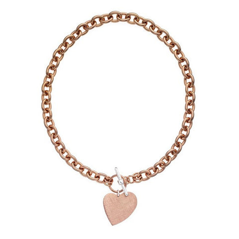 1AR by UnoAerre 18K Rose GEP Round Link Necklace with Hanging Heart Charm