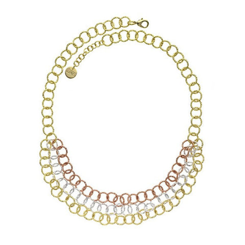 1AR by UnoAerre 18K Yellow Gold, Rose Gold, and Fine Silver EP Triple Strand Textured Round Link Necklace