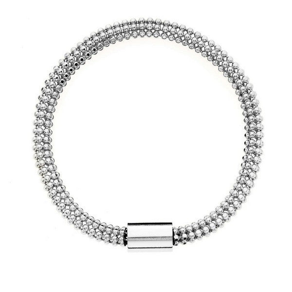 1AR by UnoAerre Fine Silver EP Flexible Bead Chain Tube Bracelet