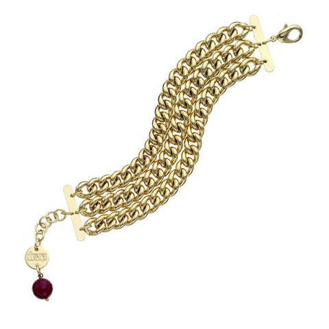 1AR by UnoAerre 18K GEP Triple Strand Twisted Link Bracelet with Red Crystal Faceted Bead