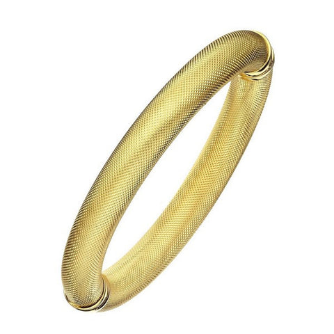 1AR by UnoAerre 18KT GEP 10mm Gold Plated Mesh Textured Bangle