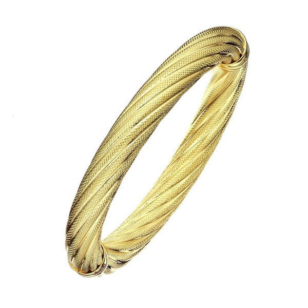 1AR by UnoAerre 18KT GEP 10mm Gold Plated Twisted-Textured Bangle