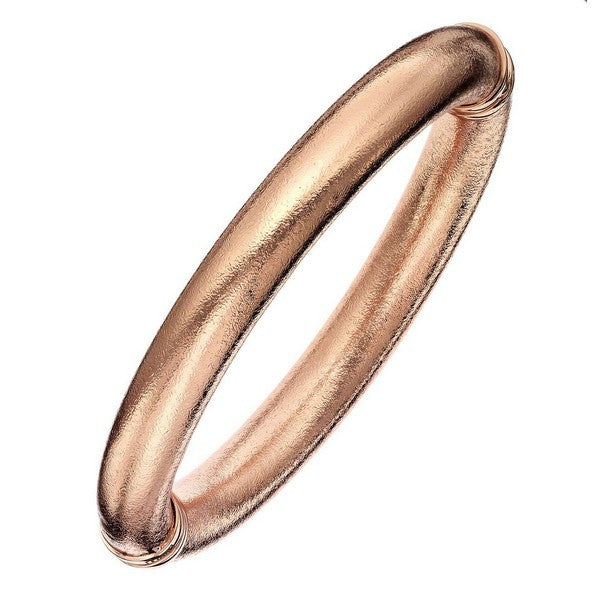 1AR by UnoAerre 18KT GEP 10mm Rose Gold Plated Mill Grained Bangle